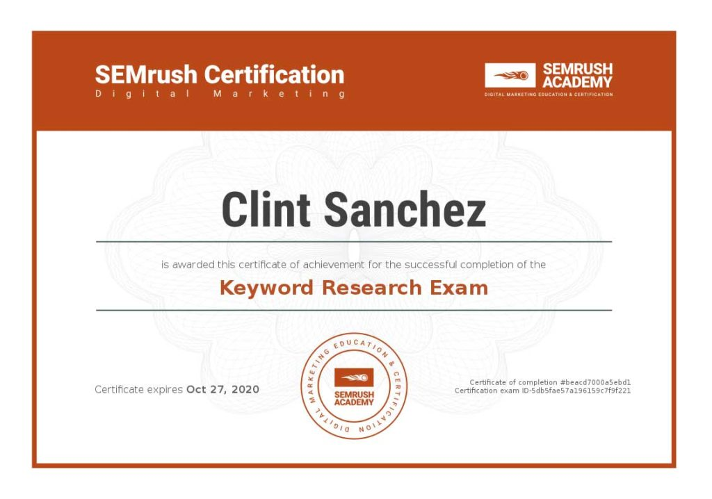 Certificate keyword research exam