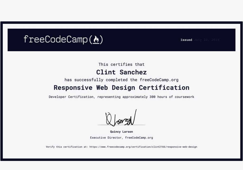 clint sanchez codecamp web design certification