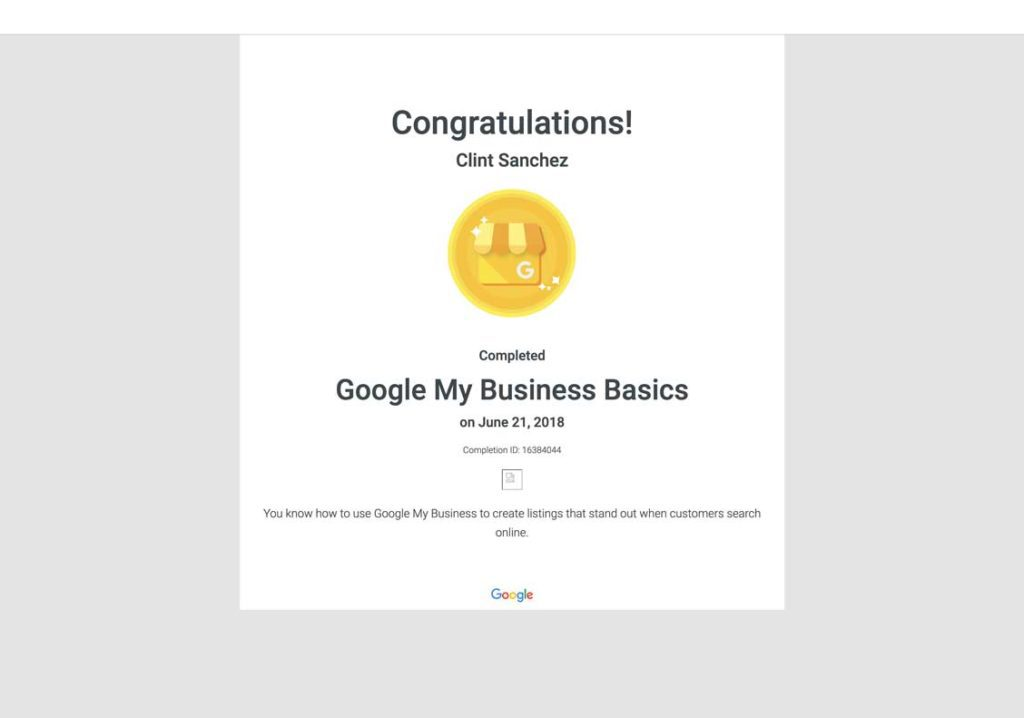 clint sanchez google my business basics course completion certificate