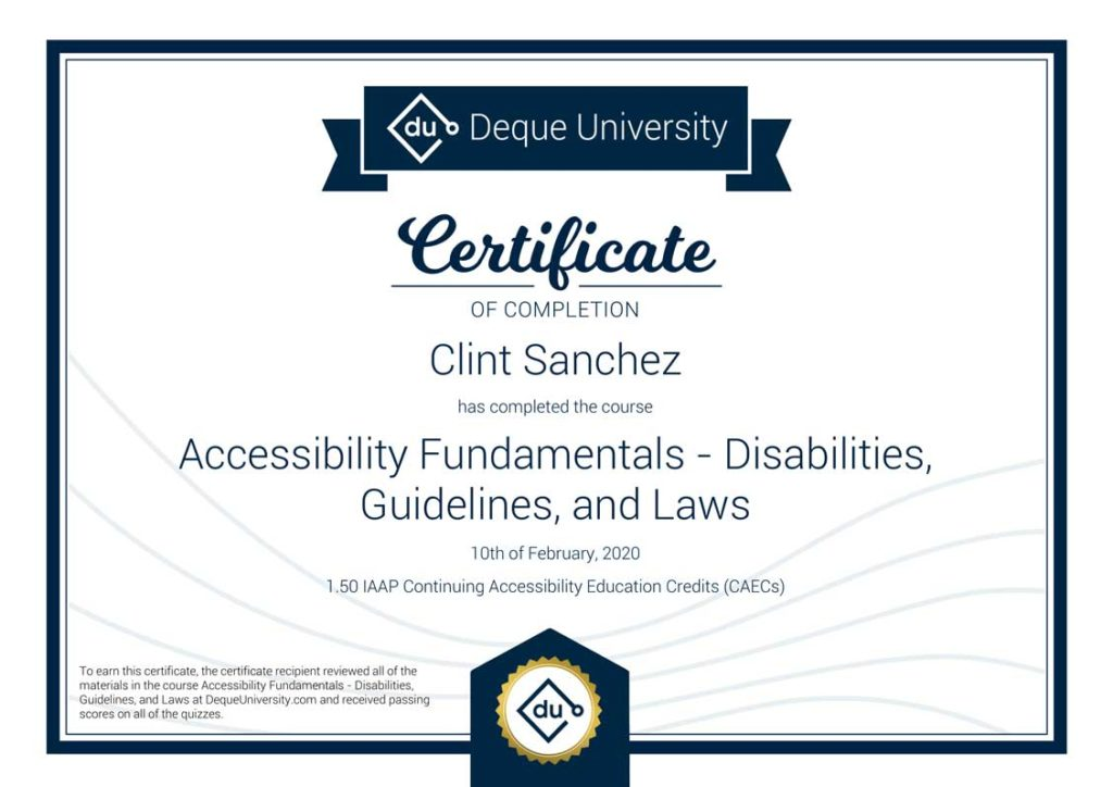 Clint Sanchez Accessibility Fundamentals Disabilities Guidelines and Laws Course Completion Certificate 1