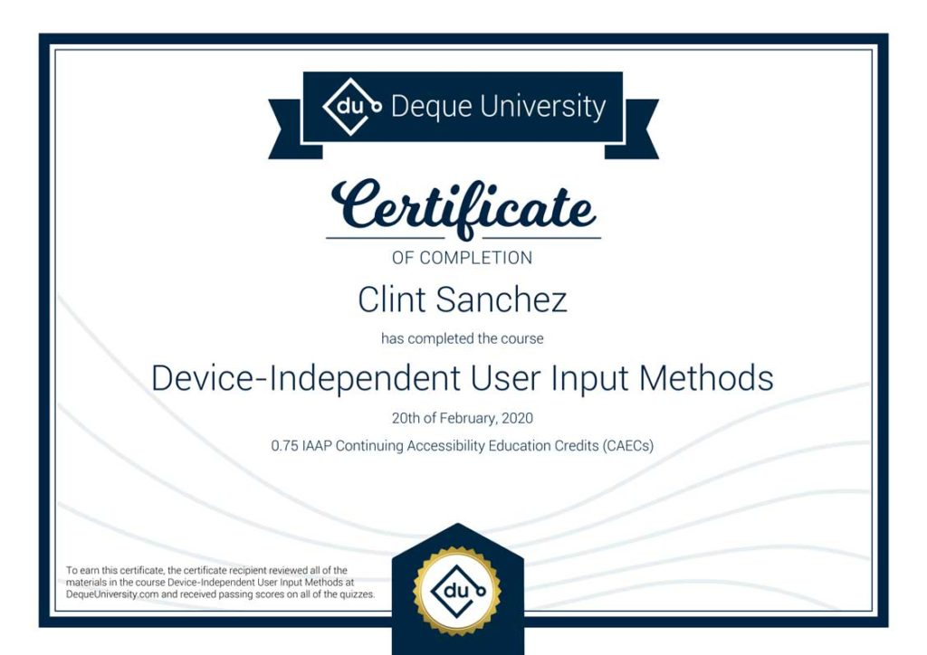 Clint Sanchez Device Independent User Input Methods Course Completion Certificate 1