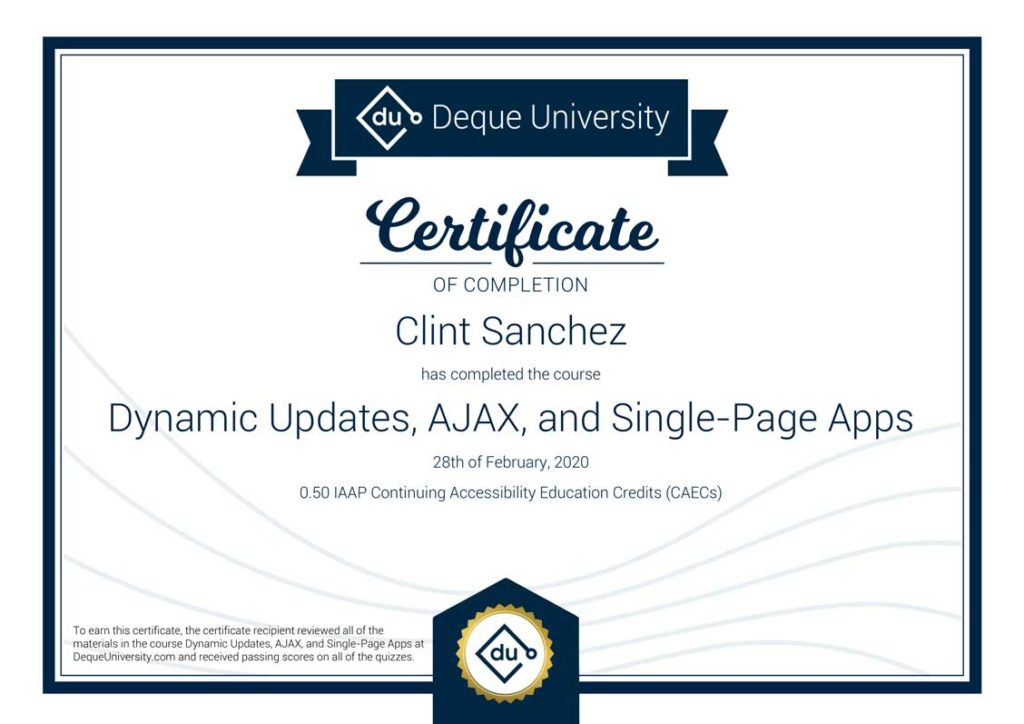 Clint Sanchez Dynamic Updates AJAX and Single Page Apps Course Completion Certificate 1
