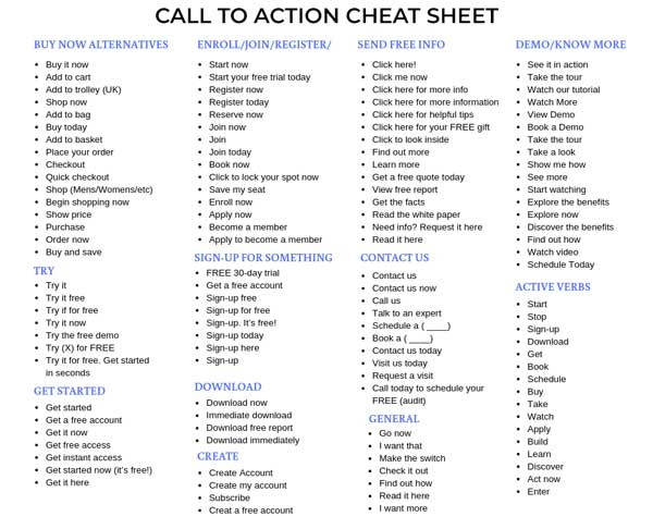 call to action button verbs cheat sheet